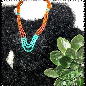 Cute 3 Strand Faux Stone Bead Necklace